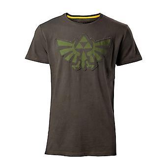Zelda T Shirt Stitched Hyrule Crest Logo new Official Gamer Mens Green