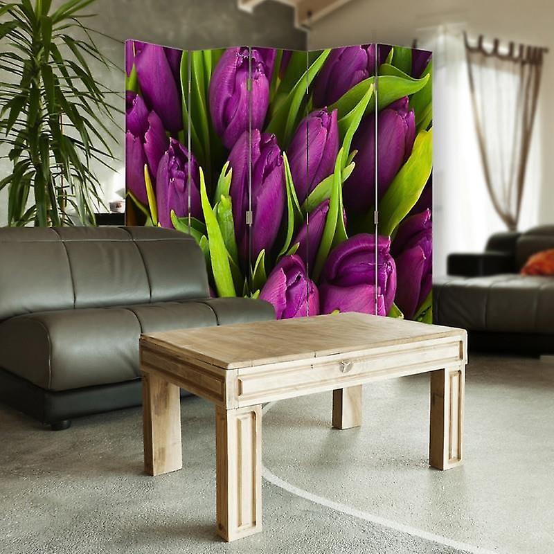 Diviseur de chambre, 5 panneaux, double-sided, Rotatable 360, toile, tulipes Claret