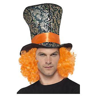Herren Zylinder mit Orange Haare Fancy Dress Zubehör