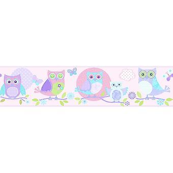 Children's Bird Print Wallpaper Border Butterfly Pink Lilac Paste Wall Galerie