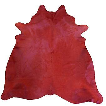 6.5' Red Dyed Cowhide Rug