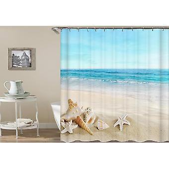 Coquillages avec un rideau de douche de vue de plage