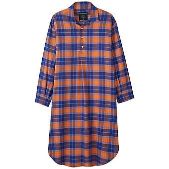 British Boxers Tangerine Dream Two Fold Flannel Nightshirt - Orange/Blue