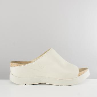 Fly London Wigg672fly Ladies Wedge Mule Sandals Off White