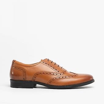 Hush Puppies Oaken Mens Leather Brogue Shoes Dark Brown