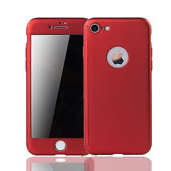 Apple iPhone 6 / 6s celle telefon sag beskyttende tilfælde dække tank beskyttelse glas rød