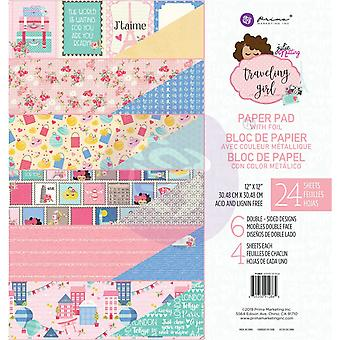 "Prima Marketing Double-Sided Paper Pad 12""X12"" 24/Pkg-Traveling Girl, 6 Foiled Designs/4 Each"
