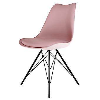 Fusion Living Eiffel Inspired Blush Pink Plastic Dining Chair With Black Metal Legs