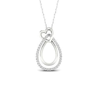 IGI Certified 10k White Gold 0.1ct TDW Diamond Heart Necklace