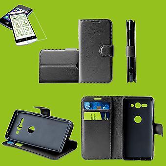 For ZTE Blade A7 2019 Pocket Wallet Premium Black Protective Case Cover Case + 0.26mm H9 2.5 Hard Glass