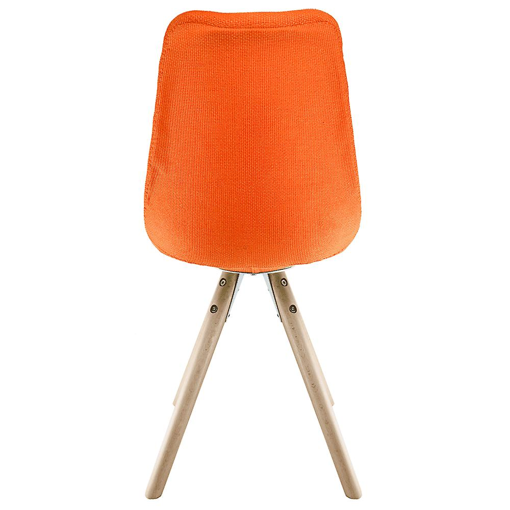 Fusion Living Eiffel Inspired Orange Fabric Dining Chair With Pyramid Light Wood Legs