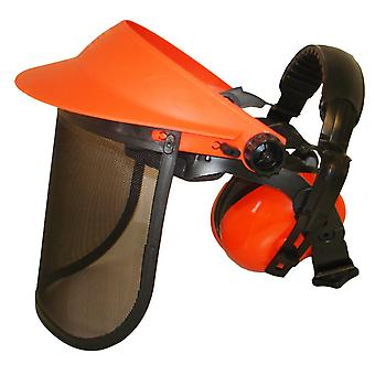 Peaked Face Shield With Ear Muffs Defenders & Mesh Visor For Brushcutter Users