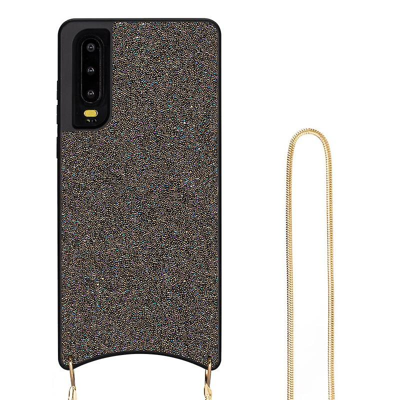 CaseGate phone chain for Huawei P30 phone chain case cover - Necklace case with Golden Design