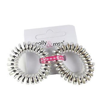 Molly & Rose Plastic Spiral Hair Bobble Silver 2 Pack