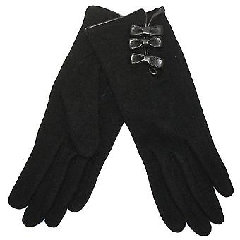 Ladies Warm Fleece Winter Fashion Glove With Leather Bows & Binding Detail Black