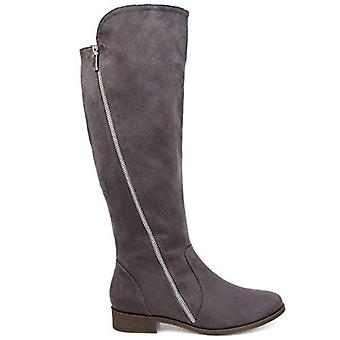 Brinley Co Comfort Womens Faux Suede Riding Boot Grey, 7 Extra Wide Calf US