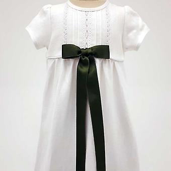 Dopklänning Grace Of Sweden, Kort ärm Med Mörk Grön Rosett,   Tr.v.k