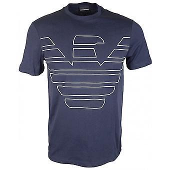 Emporio Armani bawełny wokół szyi orła drukowane Logo Navy T-shirt