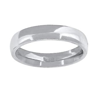 10k White Gold Mens Womens Unisex Wedding Band Comfort Fit 4mm Jewelry Gifts for Men - Ring Size: 5 to 13