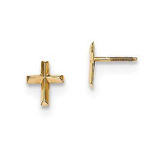 6.8mm 14k Madi K kiillotettu 3d uskonnollisen uskon Cross Post korvakorut korut lahjat naisille - 0,2 grammaa