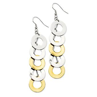 Stainless Steel Ip Gold Flashed Shepherd hook Yellow IP plated and Polished Circle Long Drop Dangle Earrings Jewelry Gif