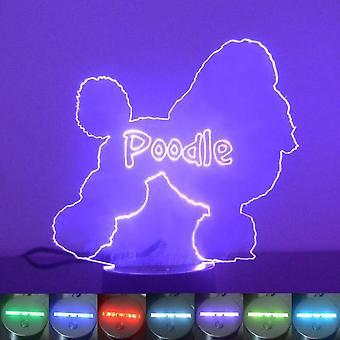 Pudel hund Colour Changing LED akryl ljus
