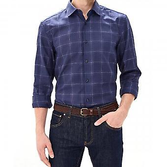 HUGO Boss Kenno Navy Large Check Shirt Long Sleeve 50415722