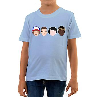 Reality glitch stranger faces kids t-shirt