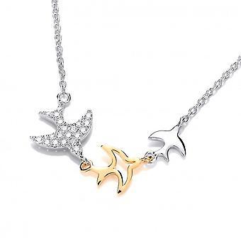 Cavendish Französisch Silber, CZ und Gold Swift Halskette