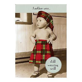 Pigment Midget Gems Kid Wearing A Kilt Humour Birthday Card