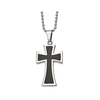 Mens Stainless Steel Carbon Fiber Cross Inlay Necklace with Chain
