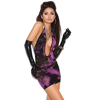 Womens Deep V Tie Dye Bodycon Club Mini jurk Lingerie