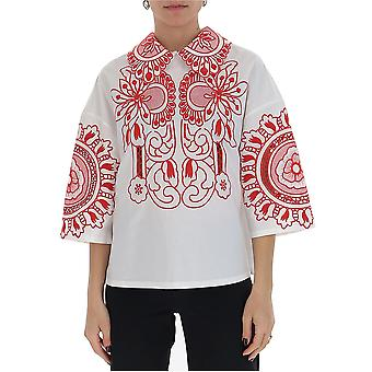 Red Valentino Tr0aa00z52vfa6 Women's White/red Cotton Blouse