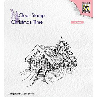 Nellie's Choice Clearstamp - Christmas time Cosily snowy cottage CT030 70x60mm