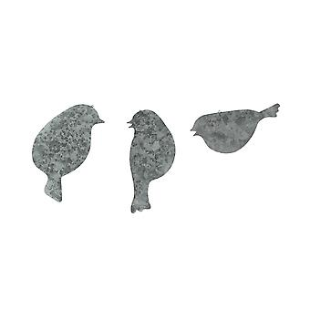Set of 3 Galvanized Finish Bird Silhouette Metal Hanging Ornaments