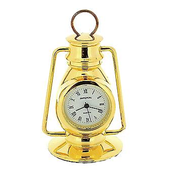 Miniature Goldtone Metal Hurricane Lamp Novelty Collectors Clock IMP77
