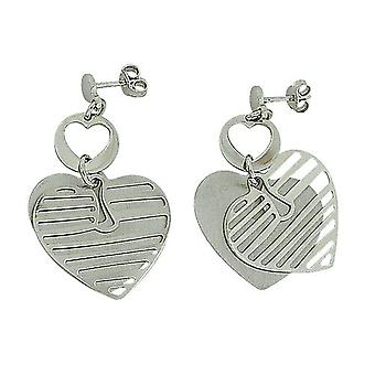 TOC Sterling Silver Fancy Double Layered Heart Drop Earrings