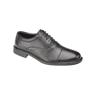 Roamers Black Softie Leather Fuller Fitting Capped Oxford Shoe