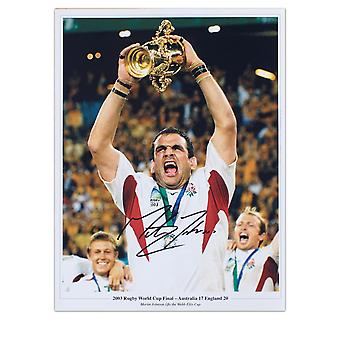 Martin Johnson Signed England Rugby Photo: Lifting The Webb Ellis Trophy