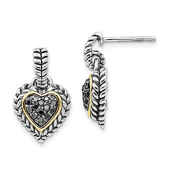 925 Sterling Silver Geweven getextureerde Gepoonige Prong set Post Oorbellen afwerking 14k Yellow Black Diamond Love Heart Long Drop Dangl