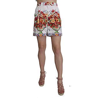 Dolce & Gabbana High Waist Floral Print Cotton Majolica  Shorts -- SKI1906864