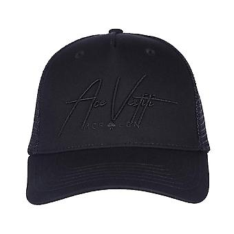 Ace Vestiti Mens Signature Mesh Trucker Cap - All Black-One Size