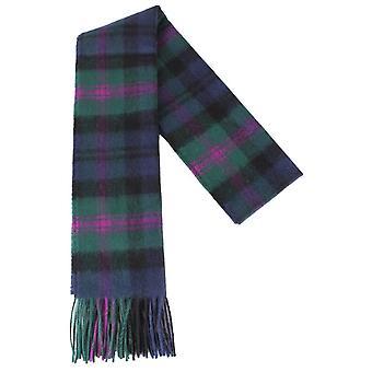 Locharron of Scotland Baird Modern Lambswool Scarf - Green/Navy/Purple