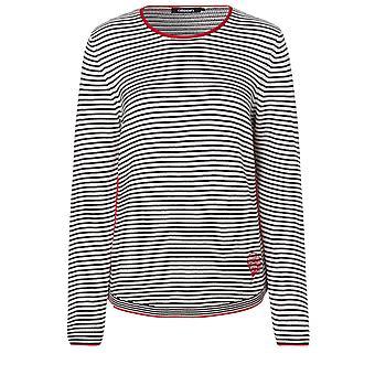 Olsen Black & White Striped Jumper