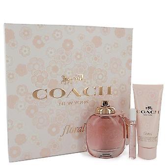 Coach floral Gift Set by Coach 3 oz Eau de Parfum Spray + .25 oz mini EDP spray + 3,3 oz Loção corporal