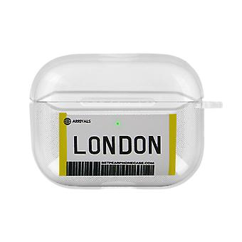London Boarding Pass Soft Airpods Case Cover Anti-Scratch Carabiner- Transparent