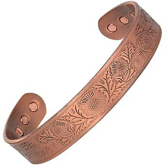 MPS® le chardon écossais pur cuivre bracelet magnétique avec 6 aimants avec pochette cadeau