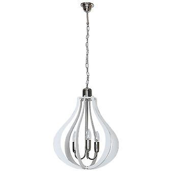 Tigris Suspension Lampe Blanc Couleur métal, bois, L40xP40xA100 cm