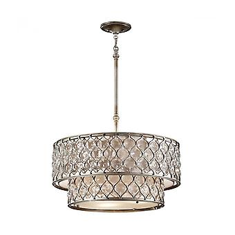 Lucia Pendant, Burnished Silver And Crystal, 62 Cm, 6 Bulbs