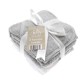 Elli & Raff 2 Pack Hooded Baby Towels, Grey and White